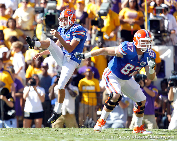 Florida senior punter David Lerner punts 33 yards during the first quarter of the Gators' 41-11 loss to the LSU Tigers on Saturday, October 8, 2011 at Tiger Stadium in Baton Rouge, La. / Gator Country photo by Tim Casey