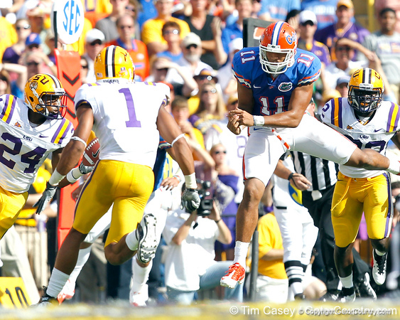 Florida redshirt sophomore tight end Jordan Reed attempts to catch a pass during the second quarter of the Gators' 41-11 loss to the LSU Tigers on Saturday, October 8, 2011 at Tiger Stadium in Baton Rouge, La. / Gator Country photo by Tim Casey