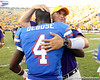 LSU receivers coach Billy Gonzales hugs Florida redshirt sophomore receiver Andre Debose after the Gators' 41-11 loss to the LSU Tigers on Saturday, October 8, 2011 at Tiger Stadium in Baton Rouge, La. / Gator Country photo by Tim Casey