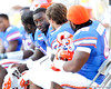 Florida redshirt sophomore defensive tackle Kedric Johnson sits on the bench during the fourth quarter of the Gators' 41-11 loss to the LSU Tigers on Saturday, October 8, 2011 at Tiger Stadium in Baton Rouge, La. / Gator Country photo by Tim Casey