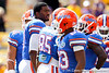 Florida freshman quarterback Jacoby Brissett talks with teammates before the Gators' 41-11 loss to the LSU Tigers on Saturday, October 8, 2011 at Tiger Stadium in Baton Rouge, La. / Gator Country photo by Tim Casey