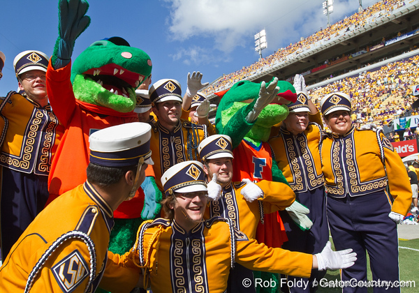 Florida mascots Albert and Alberta pose with members of the LSU Golden Band from Tiger Land before the Gators' 41-11 loss to the LSU Tigers on Saturday, October 8, 2011 at Tiger Stadium in Baton Rouge, La. / Gator Country photo by Rob Foldy
