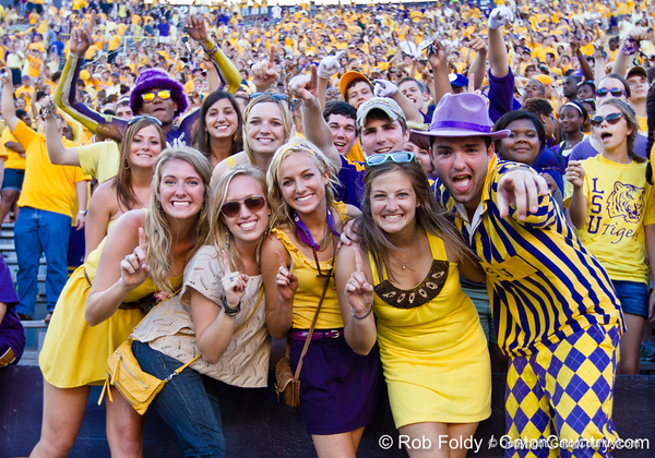 LSU fans cheer dduring the Gators' 41-11 loss to the LSU Tigers on Saturday, October 8, 2011 at Tiger Stadium in Baton Rouge, La. / Gator Country photo by Rob Foldy