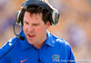 Florida head coach Will Muschamp reacts during the Gators' 41-11 loss to the LSU Tigers on Saturday, October 8, 2011 at Tiger Stadium in Baton Rouge, La. / Gator Country photo by Rob Foldy