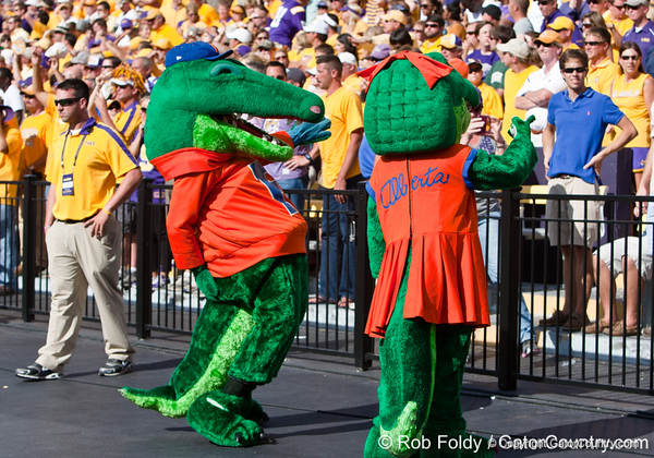 Florida mascots Albert and Alberta interact with LSU fans during the Gators' 41-11 loss to the LSU Tigers on Saturday, October 8, 2011 at Tiger Stadium in Baton Rouge, La. / Gator Country photo by Rob Foldy