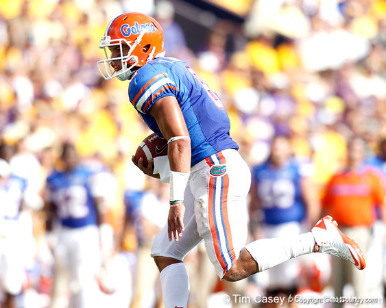 Florida sophomore running back Trey Burton runs for a four-yard gain during the second quarter of the Gators' 41-11 loss to the LSU Tigers on Saturday, October 8, 2011 at Tiger Stadium in Baton Rouge, La. / Gator Country photo by Tim Casey