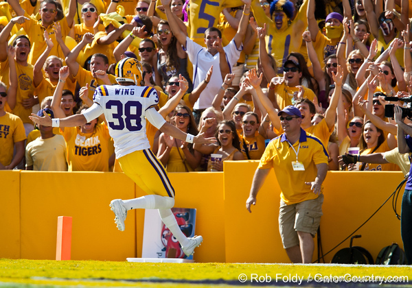 LSU punter Brad Wing celebrates with fans after scoring a touchdown on a fake punt, which was then taken back because of a penalty, during the Gators' 41-11 loss to the LSU Tigers on Saturday, October 8, 2011 at Tiger Stadium in Baton Rouge, La. / Gator Country photo by Rob Foldy