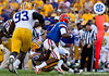 LSU defensive end Sam Montgomery sacks Florida freshman quarterback Jacoby Brissett during the Gators' 41-11 loss to the LSU Tigers on Saturday, October 8, 2011 at Tiger Stadium in Baton Rouge, La. / Gator Country photo by Rob Foldy