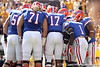 Florida freshman quarterback Jacoby Brissett leads a huddle during the first quarter of the Gators' 41-11 loss to the LSU Tigers on Saturday, October 8, 2011 at Tiger Stadium in Baton Rouge, La. / Gator Country photo by Tim Casey