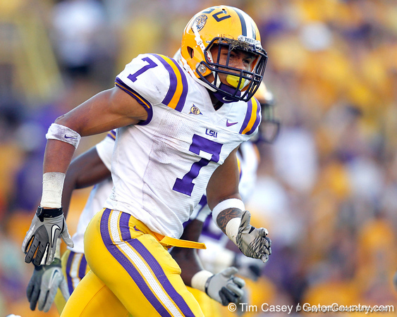 LSU cornerback Tyrann Mathieu celebrates after an interception during the fourth quarter of the Gators' 41-11 loss to the LSU Tigers on Saturday, October 8, 2011 at Tiger Stadium in Baton Rouge, La. / Gator Country photo by Tim Casey