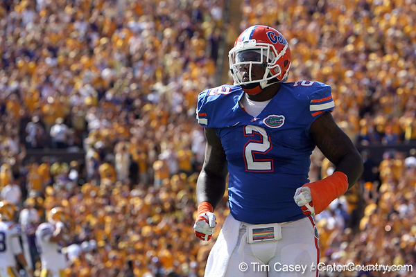 Florida sophomore defensive tackle Dominique Easley returns to the sideline after a touchdown during the first quarter of the Gators' 41-11 loss to the LSU Tigers on Saturday, October 8, 2011 at Tiger Stadium in Baton Rouge, La. / Gator Country photo by Tim Casey