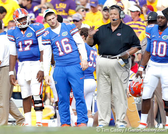 Florida freshman quarterback Jacoby Brissett and freshman quarterback Jeff Driskel watch from the sideline during the second quarter of the Gators' 41-11 loss to the LSU Tigers on Saturday, October 8, 2011 at Tiger Stadium in Baton Rouge, La. / Gator Country photo by Tim Casey