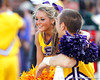 LSU cheerleaders pause for an injury during the second quarter of the Gators' 41-11 loss to the LSU Tigers on Saturday, October 8, 2011 at Tiger Stadium in Baton Rouge, La. / Gator Country photo by Tim Casey