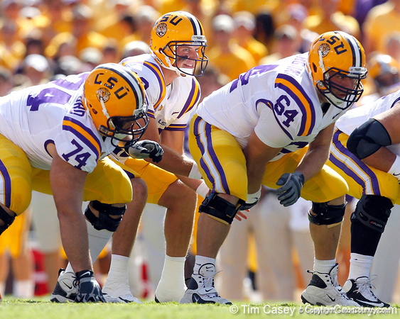 LSU quarterback Jarrett Lee takes a snap during the first quarter of the Gators' 41-11 loss to the LSU Tigers on Saturday, October 8, 2011 at Tiger Stadium in Baton Rouge, La. / Gator Country photo by Tim Casey