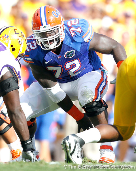 Florida redshirt sophomore center Jonotthan Harrison snaps the ball during the second quarter of the Gators' 41-11 loss to the LSU Tigers on Saturday, October 8, 2011 at Tiger Stadium in Baton Rouge, La. / Gator Country photo by Tim Casey