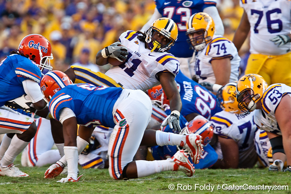 LSU running back Spencer Ware during the Gators' 41-11 loss to the LSU Tigers on Saturday, October 8, 2011 at Tiger Stadium in Baton Rouge, La. / Gator Country photo by Rob Foldy