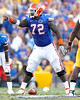Florida redshirt sophomore center Jonotthan Harrison points out a defender during the third quarter of the Gators' 41-11 loss to the LSU Tigers on Saturday, October 8, 2011 at Tiger Stadium in Baton Rouge, La. / Gator Country photo by Tim Casey