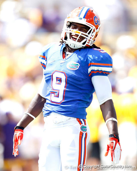 Florida redshirt freshman safety Josh Shaw laughs before the Gators' 41-11 loss to the LSU Tigers on Saturday, October 8, 2011 at Tiger Stadium in Baton Rouge, La. / Gator Country photo by Tim Casey