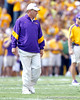 LSU coach Les Miles oversees warmups before the Gators' 41-11 loss to the LSU Tigers on Saturday, October 8, 2011 at Tiger Stadium in Baton Rouge, La. / Gator Country photo by Tim Casey
