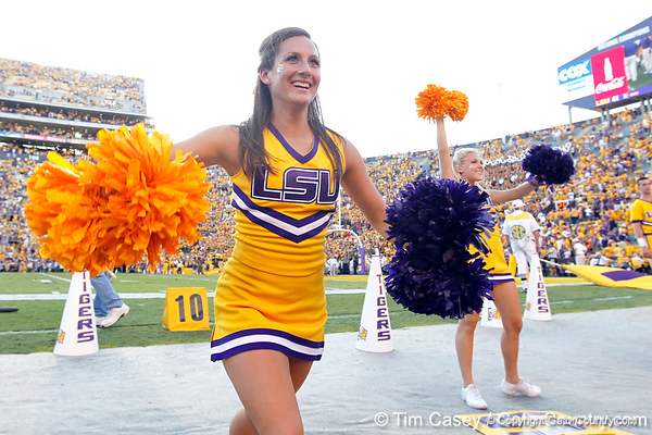 LSU cheerleaders perform during the fourth quarter of the Gators' 41-11 loss to the LSU Tigers on Saturday, October 8, 2011 at Tiger Stadium in Baton Rouge, La. / Gator Country photo by Tim Casey