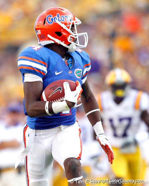 Florida redshirt sophomore receiver Andre Debose scores on a 65-yard touchdown pass during the third quarter of the Gators' 41-11 loss to the LSU Tigers on Saturday, October 8, 2011 at Tiger Stadium in Baton Rouge, La. / Gator Country photo by Tim Casey
