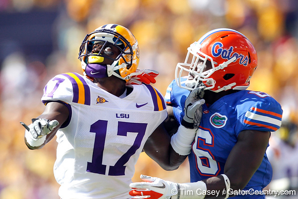 Florida redshirt senior receiver Deonte Thompson runs under a pass during the first quarter of the Gators' 41-11 loss to the LSU Tigers on Saturday, October 8, 2011 at Tiger Stadium in Baton Rouge, La. / Gator Country photo by Tim Casey