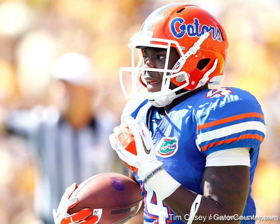 Florida redshirt sophomore receiver Andre Debose returns the opening kickoff 19 yards during the first quarter of the Gators' 41-11 loss to the LSU Tigers on Saturday, October 8, 2011 at Tiger Stadium in Baton Rouge, La. / Gator Country photo by Tim Casey
