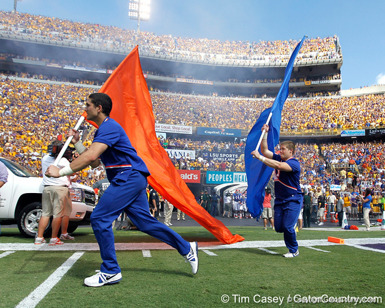 Florida cheerleaders lead the team onto the field before the Gators' 41-11 loss to the LSU Tigers on Saturday, October 8, 2011 at Tiger Stadium in Baton Rouge, La. / Gator Country photo by Tim Casey
