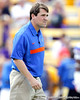 Florida head coach Will Muschamp oversees warmups before the Gators' 41-11 loss to the LSU Tigers on Saturday, October 8, 2011 at Tiger Stadium in Baton Rouge, La. / Gator Country photo by Tim Casey