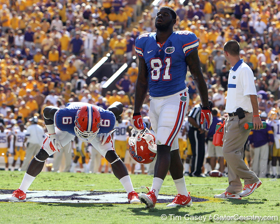 Florida freshman tight end A.C. Leonard walks to the sideline during the first quarter of the Gators' 41-11 loss to the LSU Tigers on Saturday, October 8, 2011 at Tiger Stadium in Baton Rouge, La. / Gator Country photo by Tim Casey