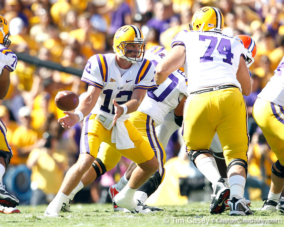 LSU quarterback Jarrett Lee pitches the ball during the first quarter of the Gators' 41-11 loss to the LSU Tigers on Saturday, October 8, 2011 at Tiger Stadium in Baton Rouge, La. / Gator Country photo by Tim Casey