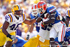 Florida redshirt senior running back Chris Rainey runs for one yards during the first quarter of the Gators' 41-11 loss to the LSU Tigers on Saturday, October 8, 2011 at Tiger Stadium in Baton Rouge, La. / Gator Country photo by Tim Casey