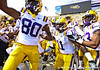 LSU players run out of the tunnel before the Gators' 41-11 loss to the LSU Tigers on Saturday, October 8, 2011 at Tiger Stadium in Baton Rouge, La. / Gator Country photo by Rob Foldy