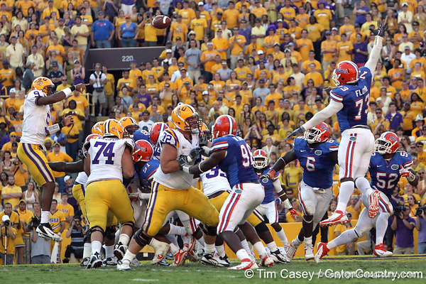 LSU quarterback Jordan Jefferson throws a two-yard touchdown pass during the fourth quarter of the Gators' 41-11 loss to the LSU Tigers on Saturday, October 8, 2011 at Tiger Stadium in Baton Rouge, La. / Gator Country photo by Tim Casey