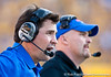 Florida head coach Will Muschamp and defensive coordinator/defensive line coach Dan Quinn during the Gators' 41-11 loss to the LSU Tigers on Saturday, October 8, 2011 at Tiger Stadium in Baton Rouge, La. / Gator Country photo by Rob Foldy