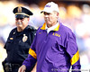 LSU coach Les Miles heads to the locker room during halftime of the Gators' 41-11 loss to the LSU Tigers on Saturday, October 8, 2011 at Tiger Stadium in Baton Rouge, La. / Gator Country photo by Tim Casey