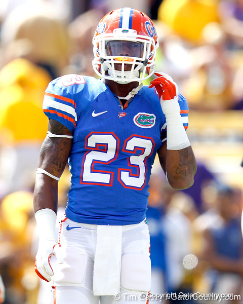 Florida junior running back Mike Gillislee warms up before the Gators' 41-11 loss to the LSU Tigers on Saturday, October 8, 2011 at Tiger Stadium in Baton Rouge, La. / Gator Country photo by Tim Casey