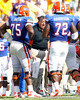 Florida offensive coordinator/quarterbacks coach Charlie Weis shouts during the second quarter of the Gators' 41-11 loss to the LSU Tigers on Saturday, October 8, 2011 at Tiger Stadium in Baton Rouge, La. / Gator Country photo by Tim Casey