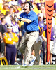Florida head coach Will Muschamp calls for a timeout during the second quarter of the Gators' 41-11 loss to the LSU Tigers on Saturday, October 8, 2011 at Tiger Stadium in Baton Rouge, La. / Gator Country photo by Tim Casey