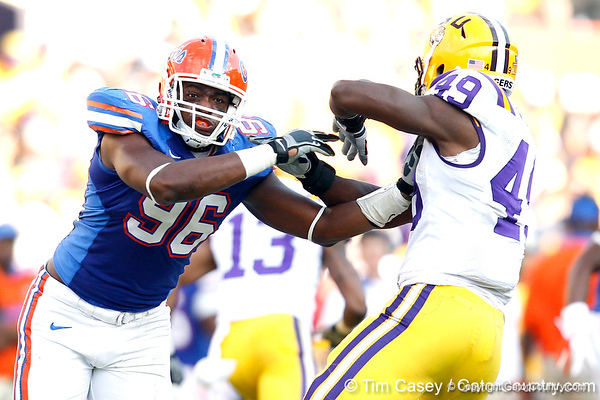 Florida senior defensive end William Green fights through a block during the third quarter of the Gators' 41-11 loss to the LSU Tigers on Saturday, October 8, 2011 at Tiger Stadium in Baton Rouge, La. / Gator Country photo by Tim Casey