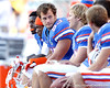Florida redshirt junior linebacker Scott Peek sits on the bench during the fourth quarter of the Gators' 41-11 loss to the LSU Tigers on Saturday, October 8, 2011 at Tiger Stadium in Baton Rouge, La. / Gator Country photo by Tim Casey