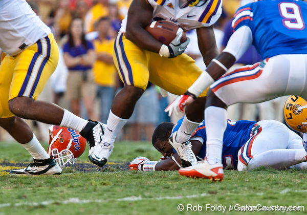 Florida junior linebacker Jonathan Bostic reacts during the Gators' 41-11 loss to the LSU Tigers on Saturday, October 8, 2011 at Tiger Stadium in Baton Rouge, La. / Gator Country photo by Rob Foldy