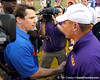 Florida head coach Will Muschamp shakes hands with LSU coach Les Miles after the Gators' 41-11 loss to the LSU Tigers on Saturday, October 8, 2011 at Tiger Stadium in Baton Rouge, La. / Gator Country photo by Tim Casey