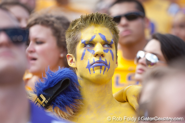An LSU fan before the Gators' 41-11 loss to the LSU Tigers on Saturday, October 8, 2011 at Tiger Stadium in Baton Rouge, La. / Gator Country photo by Rob Foldy