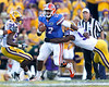 Florida freshman quarterback Jacoby Brissett gets sacked during the fourth quarter of the Gators' 41-11 loss to the LSU Tigers on Saturday, October 8, 2011 at Tiger Stadium in Baton Rouge, La. / Gator Country photo by Tim Casey