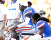 Florida junior linebacker Dee Finley watches from the bench during the fourth quarter of the Gators' 41-11 loss to the LSU Tigers on Saturday, October 8, 2011 at Tiger Stadium in Baton Rouge, La. / Gator Country photo by Tim Casey