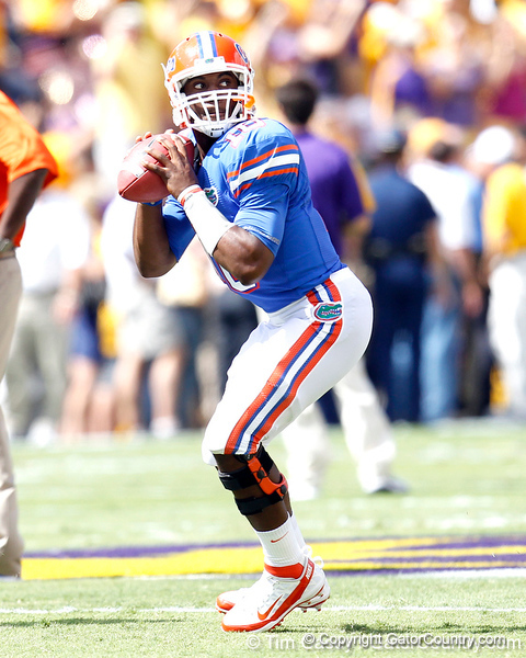 Florida redshirt freshman quarterback Tyler Murphy warms up before the Gators' 41-11 loss to the LSU Tigers on Saturday, October 8, 2011 at Tiger Stadium in Baton Rouge, La. / Gator Country photo by Tim Casey