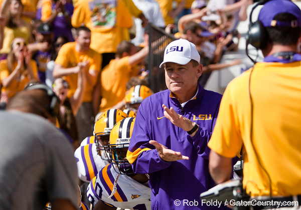 LSU head coach Les Miles before the Gators' 41-11 loss to the LSU Tigers on Saturday, October 8, 2011 at Tiger Stadium in Baton Rouge, La. / Gator Country photo by Rob Foldy
