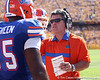 Florida offensive line coach/running game coordinator Frank Verducci talks with Chaz Green during the first quarter of the Gators' 41-11 loss to the LSU Tigers on Saturday, October 8, 2011 at Tiger Stadium in Baton Rouge, La. / Gator Country photo by Tim Casey