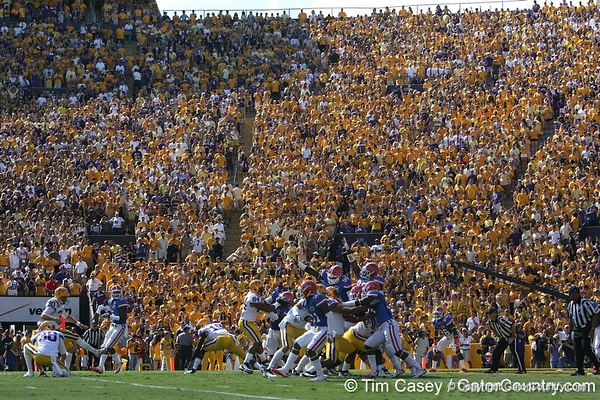 LSU kicker Drew Alleman kicks an extra point during the first quarter of the Gators' 41-11 loss to the LSU Tigers on Saturday, October 8, 2011 at Tiger Stadium in Baton Rouge, La. / Gator Country photo by Tim Casey